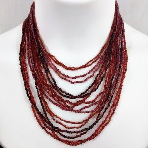 16 Strand Red Seed Bead Boho Necklace